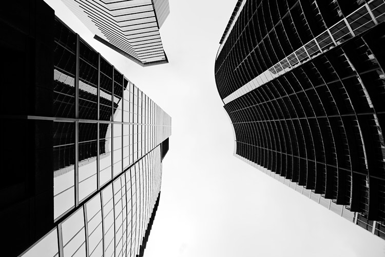 """Having my Canon 5D and 16-35mm f/2.8 L lens with me while going out for coffee in downtown Atlanta meant that I was able to capture this shot of skyscrapers towering overhead while walking down the street."" — Nick Zantop"